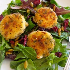 goat cheese bites2 225x225  Fried Goat Cheese Salad Bites