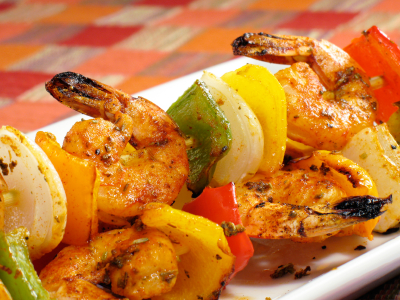 Shrimp Kabobs with peppers, onions, and pineapple, yum!