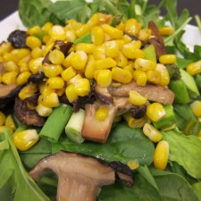 corn fricasse 2 2 225x225  LindaJoy's Fricassee of Corn, Asparagus and Shitake over Spinach and Arugula