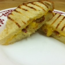grilled cheese 225x225  Cheddar and Bacon Grilled Cheese
