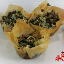 Turkey Spinach Feta and Artichoke Phyllo 225x225  Turkey, Spinach and Artichoke Phyllo Cups