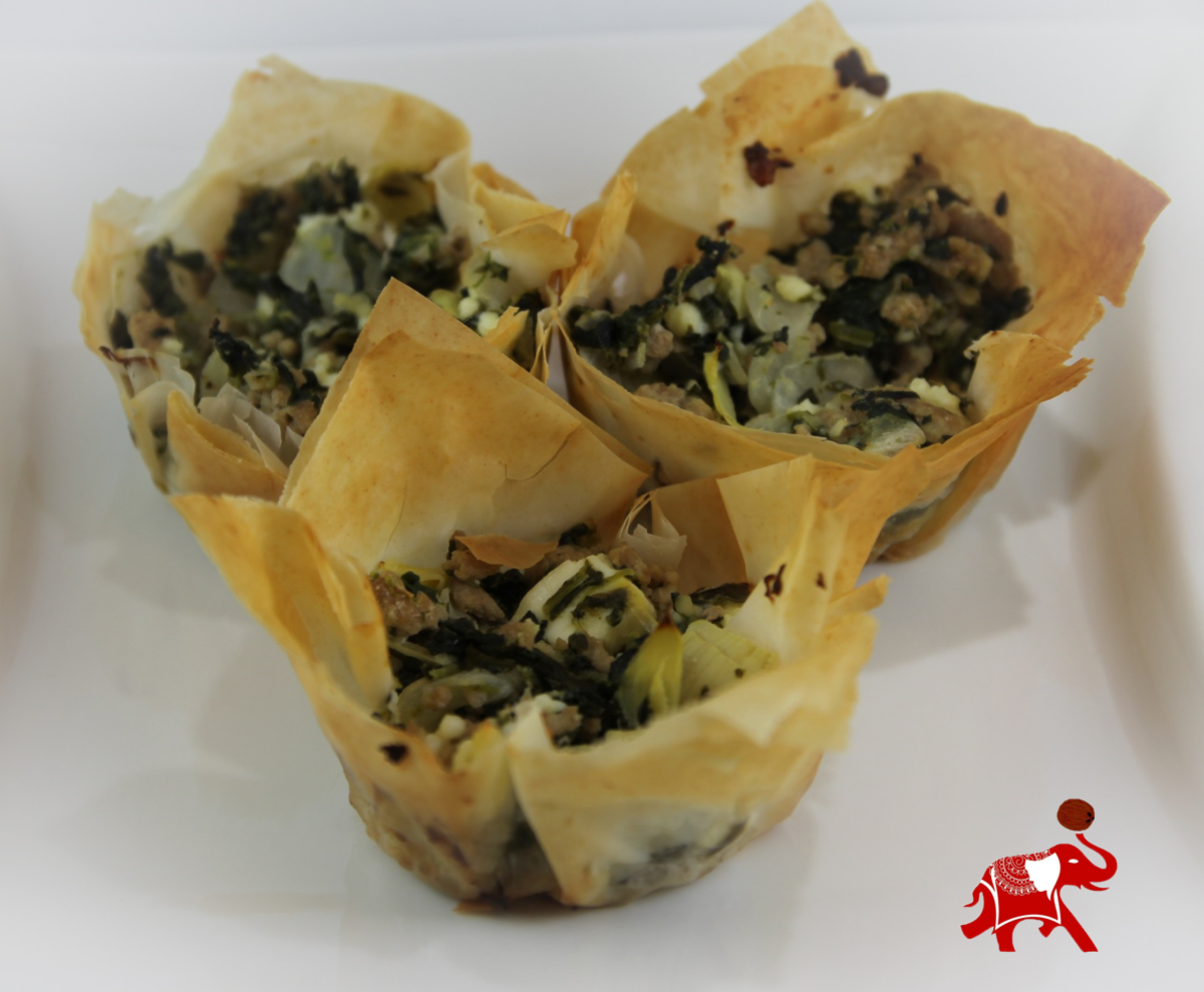 Turkey, Spinach and Artichoke Phyllo Cups
