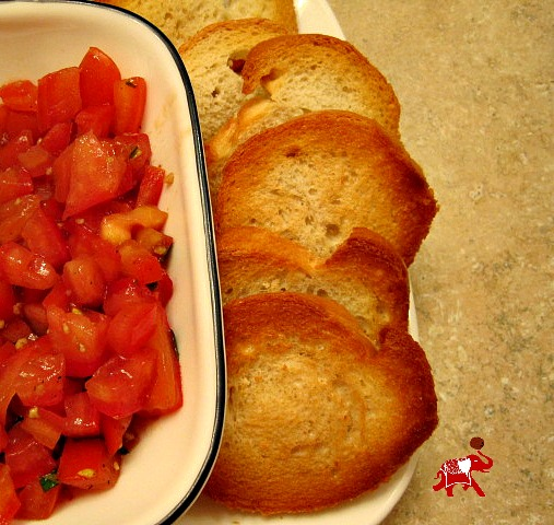 Bruschetta with Toasted Baguette Slices