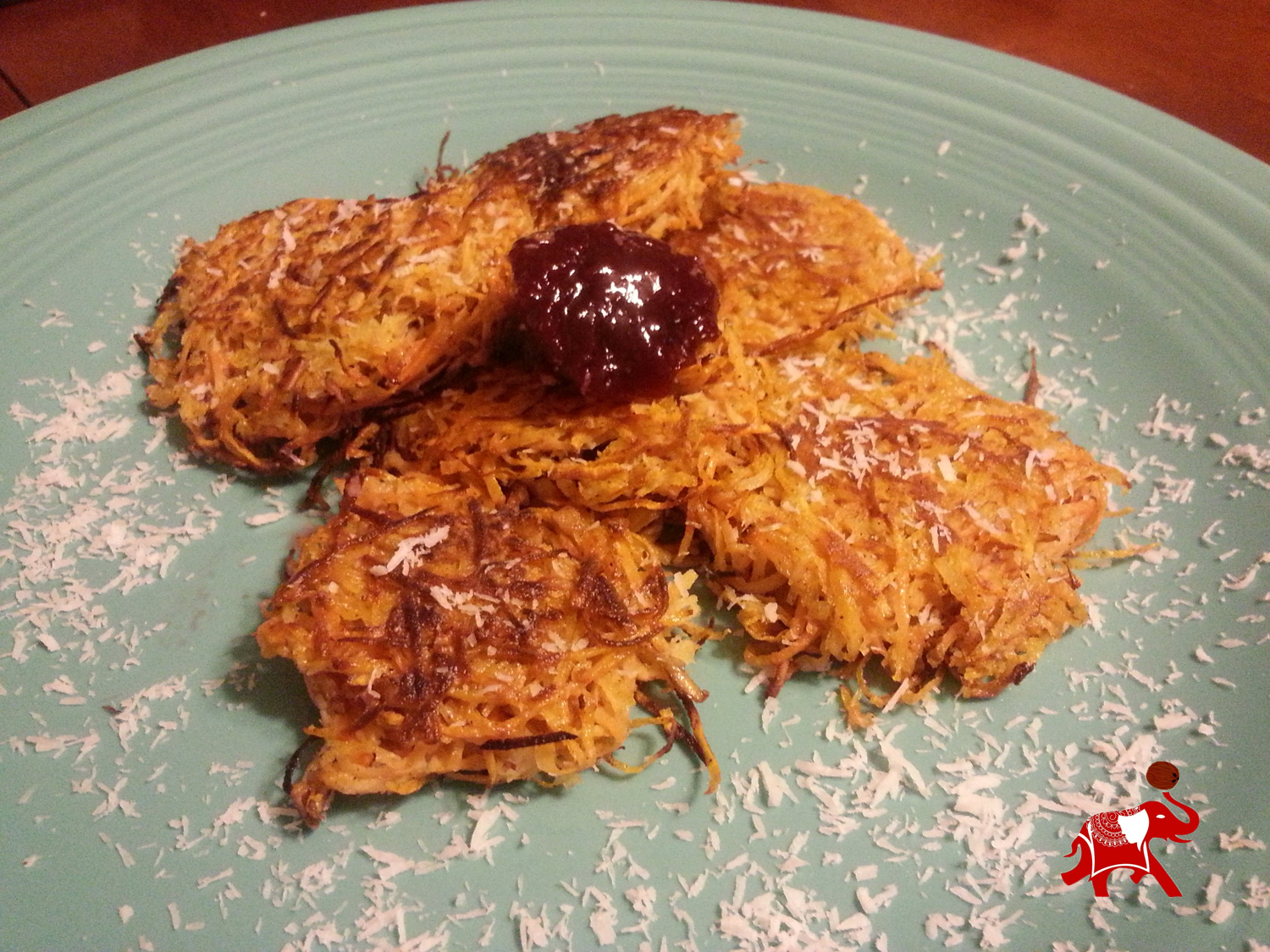 Coconut Sweet Potato Latkes are a new twist on a family favorite.