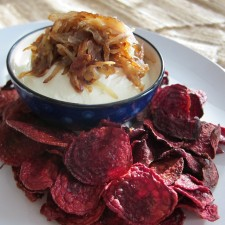 Chef Alyssa Goat Cheese Dip1 225x225  Goat Cheese and Caramelized Shallot Dip with Beet Chips