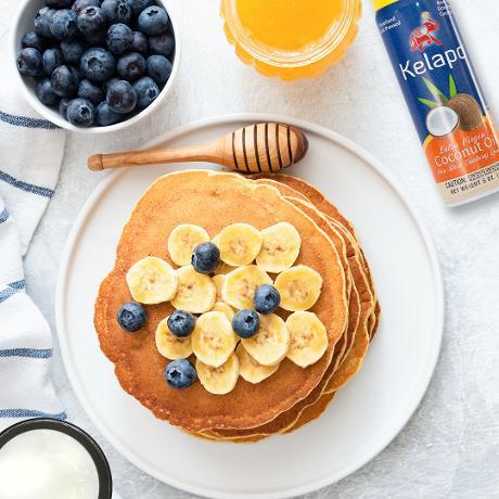 pancake  Gluten Free Banana Blueberry Pancakes